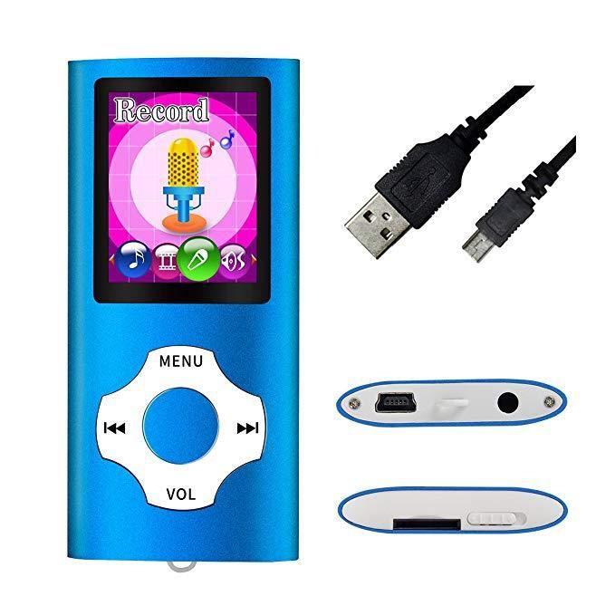 Portable Lecteur MP3/MP4 (Max Support 64 Go Carte Micro SD) avec Photo Viewer, E-Book Reader et Radio FM Enregistreur Vocal et vidéo