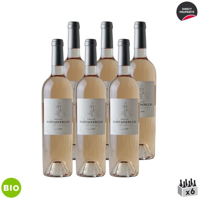 Côtes de Provence Château Fontainebleau Rosé 2020 - Bio - Lot de 6x75cl - Domaine Fontainebleau en Provence - Vin AOC Rosé de Proven