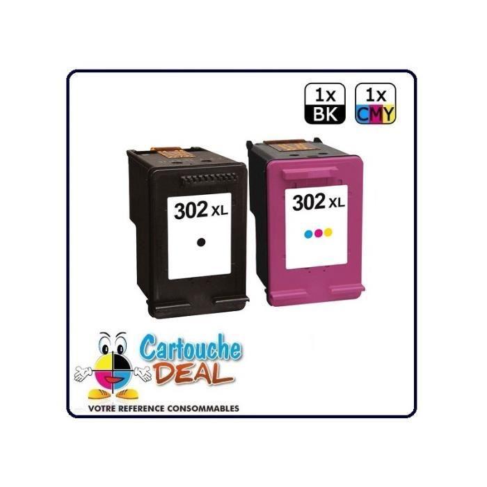 HP 302XL - Lot 2 cartouches compatible Envy 4522 4524 OfficeJet 3800 3830 4650