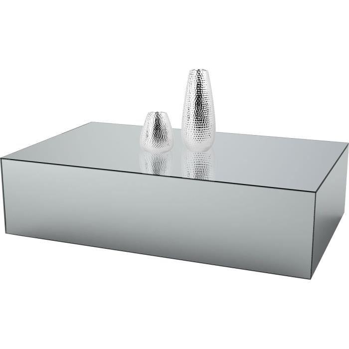 Table basse design bloc rectangle en miroir clair L. 130 x P. 70 x H. 45 cm collection PALO Argenté