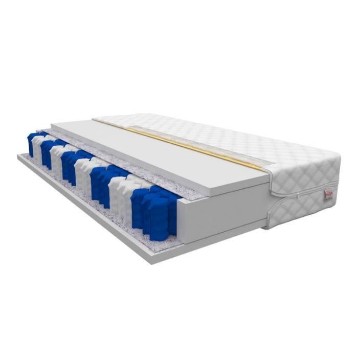 Matelas - MILA - 80 x 200 cm - à ressorts ensachés - 7 zones de confort - avec housse antiallergique - garantie d'un sommeil sain