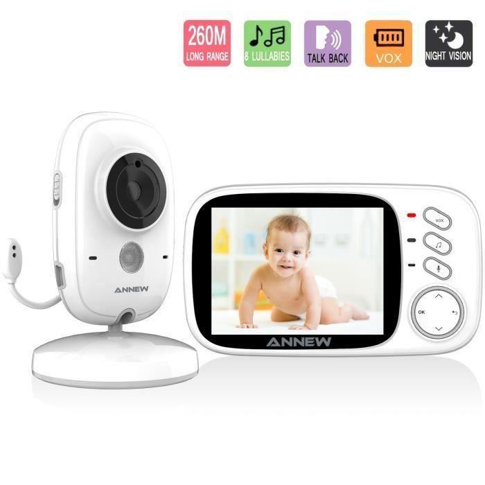 """GeekMe Babyphone Bébé Moniteur Ecoute Bébé Caméra de Surveillance sans Fil Ecran 3.2"""" VB603"""
