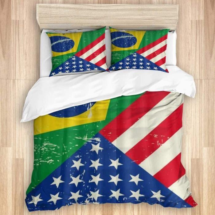 Parure de lit,Drapeau des États-Unis d'Amérique du Brésil - 220x240cm[941]