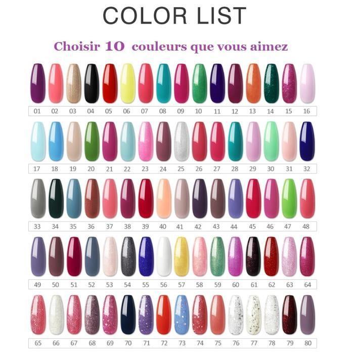 [Choisir 10 Couleurs] Lot De 10 Flacons de Vernis à Ongles 10 ml Couleurs Optionnel Vernis Semi-Permanent Nail Polish Manucure