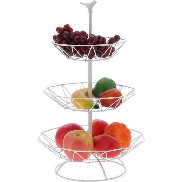 Corbeille à fruits en métal à 3 étage en fer forgé en blanc pour Salon -BOT