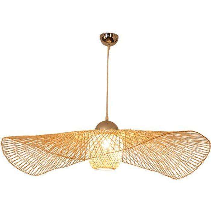 Luminaires suspendus en rotin tissé à la main abat-jour plafonnier suspendu pour salon, salle à manger, bar, café, style 75cm