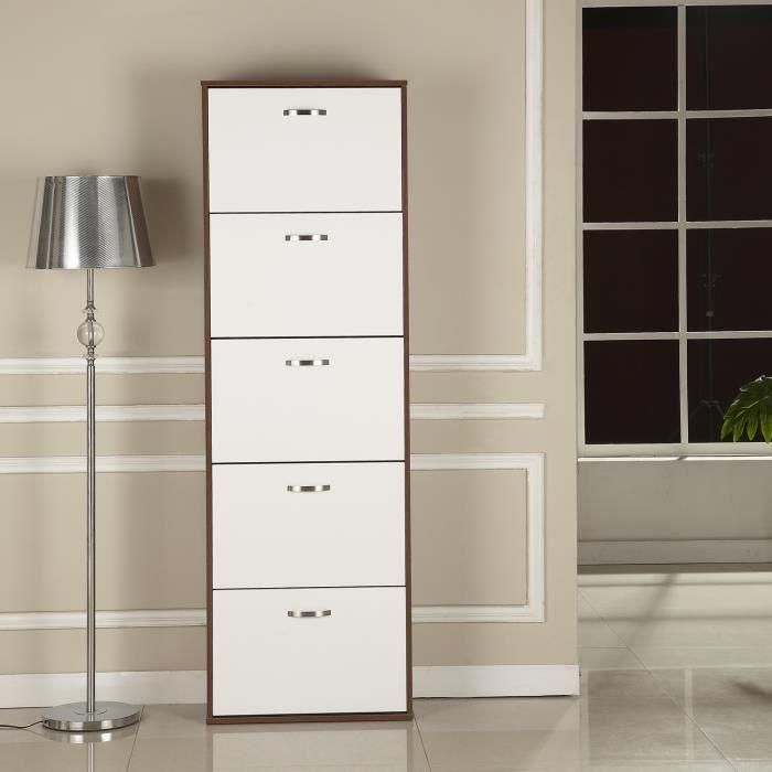 Armoire à chaussures meuble à chaussures design contemporain 5 portes abattantes bicolore blanc marron foncé imitation bois neuf ...