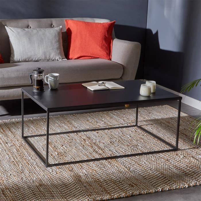 Table basse KENDO, table de salon grande table d'appoint, design industriel, plateau rectangulaire en métal laqué noir