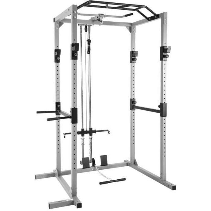 ISE Power Rack,Cage Squat,Station de Musculation,Barre de Traction Construction en Acier,Maintien des Jambes réglable,Charge 300kg
