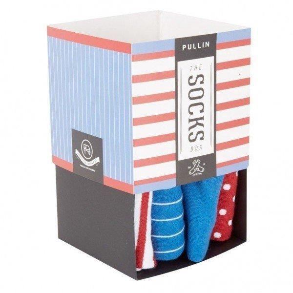 PULL IN Lot de 4 paires de Chaussettes Mixte Coton PACK13 Bleu Rouge Blanc