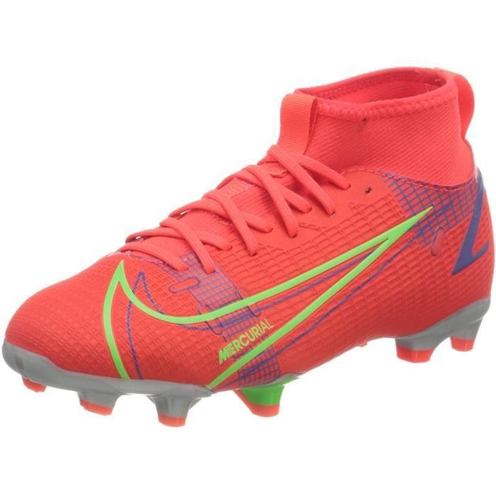 Nike Superfly 8 Academy Fg / MG, Chaussures de Football, Bright Crimson/Metallic Argent, 33 Eu