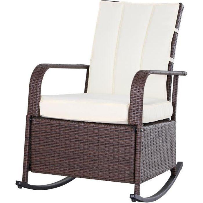 Rocking chair fauteuil à bascule grand confort style cosy coussins assise dossier déperlant crème résine tressée imitation rotin