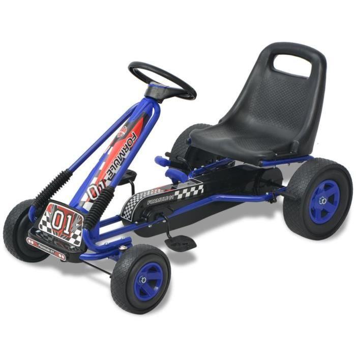 Kart à pédale Go-Kart Deluxe pour 4 à 8 ans - Nouveauavec siège ajustable Bleu