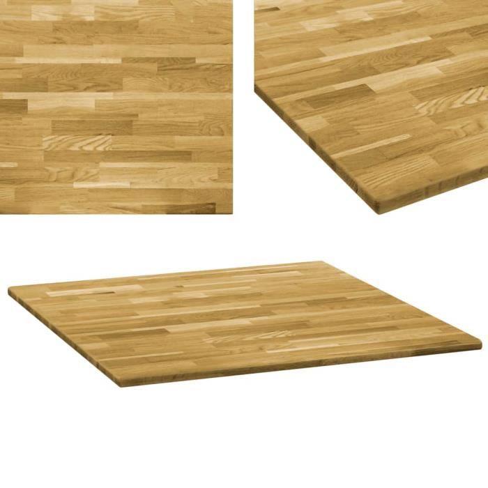Dessus de table Plateaux de table Bois de chêne massif Carré 23 mm 70x70 cm
