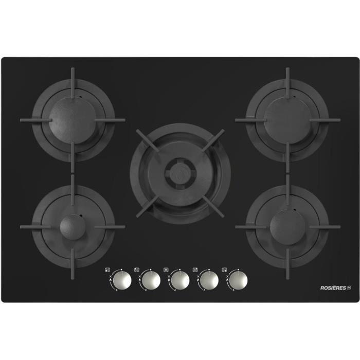 Table de cuisson gaz ROSIERES RGV75WFM PN