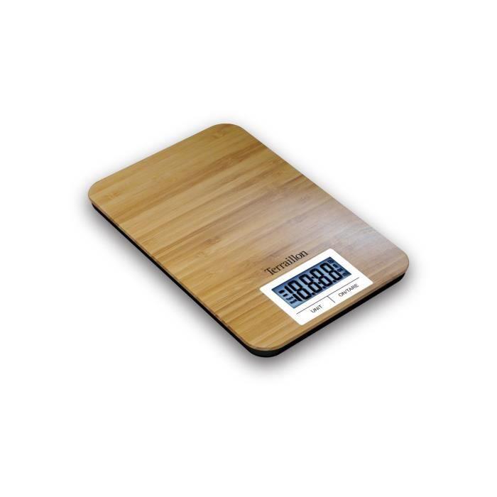 TERRAILLON - Pèse-personne électronique Bamboo Scale 150kg/100g lcd 74x