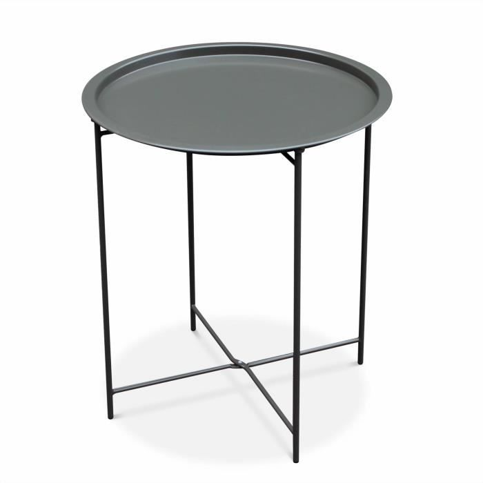 Table basse ronde – Alexia gris anthracite – Table d\'appoint ...