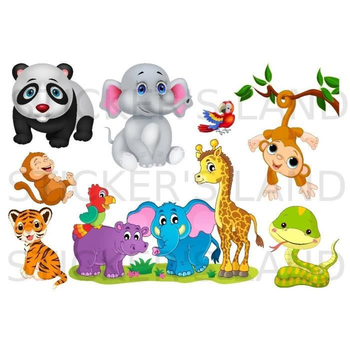 stickers d coratifs animaux de la jungle d couper planche stickers dimensions 21x28cm en. Black Bedroom Furniture Sets. Home Design Ideas