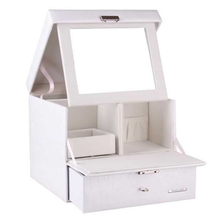 bo te bijoux fille bo te de rangement maquillage blanc beauty cosm tique case achat vente. Black Bedroom Furniture Sets. Home Design Ideas