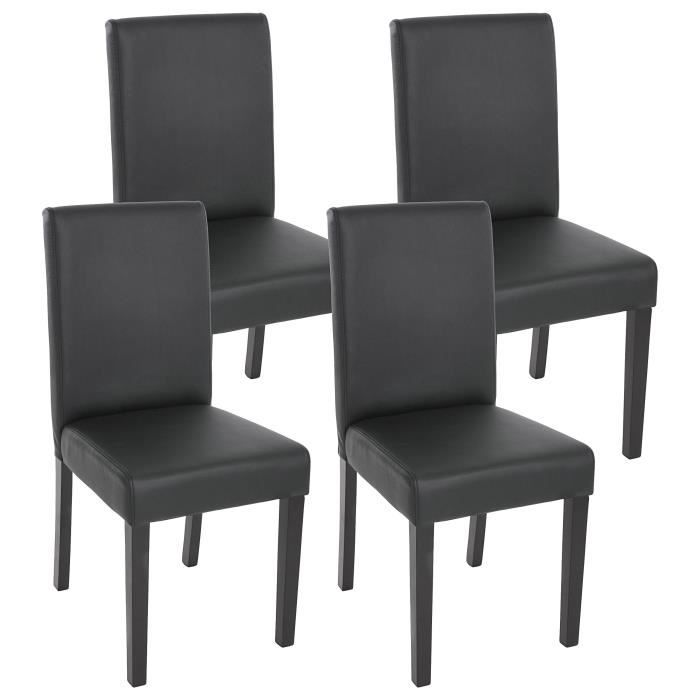 lot de 4 chaises de salle manger simili cuir noir m t achat vente chaise noir cdiscount. Black Bedroom Furniture Sets. Home Design Ideas