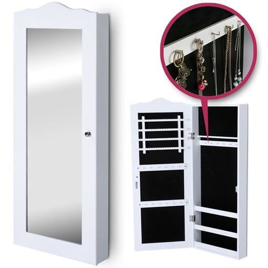 armoire bijoux en bois blanc avec porte miroir achat. Black Bedroom Furniture Sets. Home Design Ideas