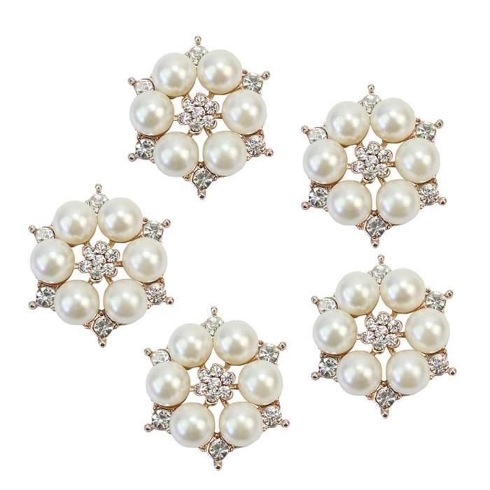5x Fleurs Boutons en Perles Faux Alliage Déco Strass Pr Couture Craft Dia.29mm - Achat / Vente ...