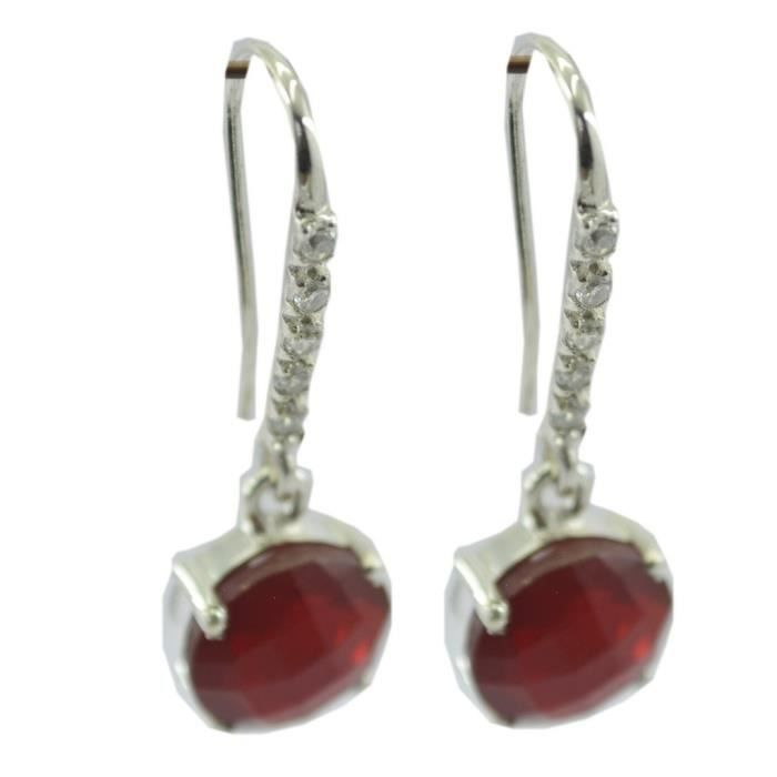 Red Onyx Earring - Boucle dArgent - Boucles doreilles rouge - Boucles doreilles Argent Rouge