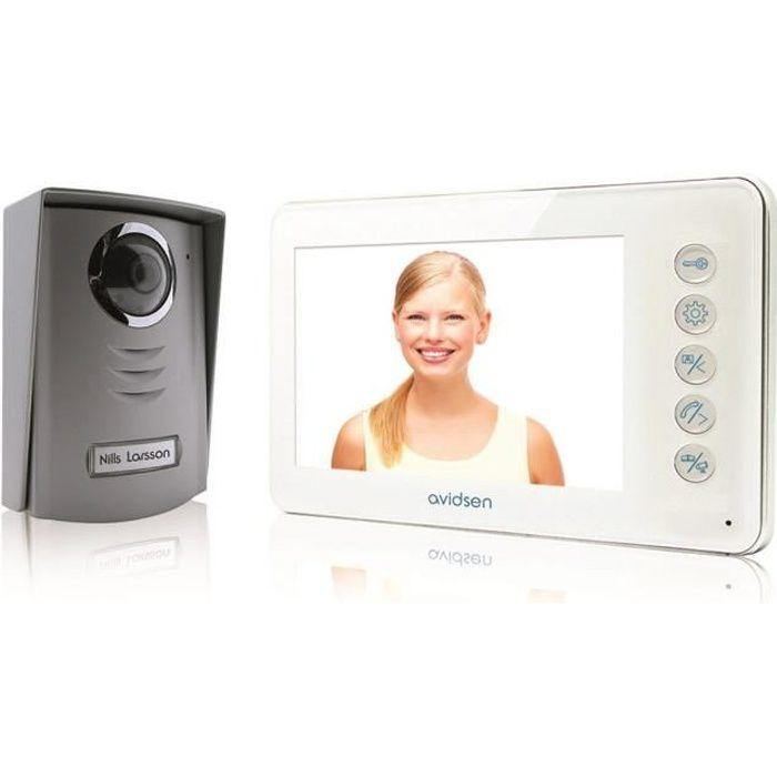 Interphone vid/éo couleur LCD 7 2 /écrans 4 fils bus cam/éra ext/érieure