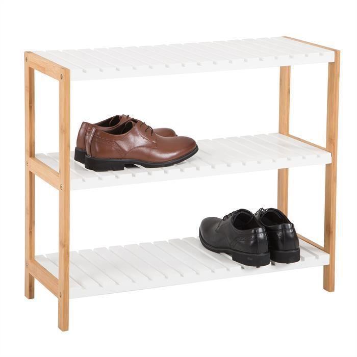 IDIMEX Etag/ère Rangement /à Chaussures RESA 4 tablettes laqu/é Blanc
