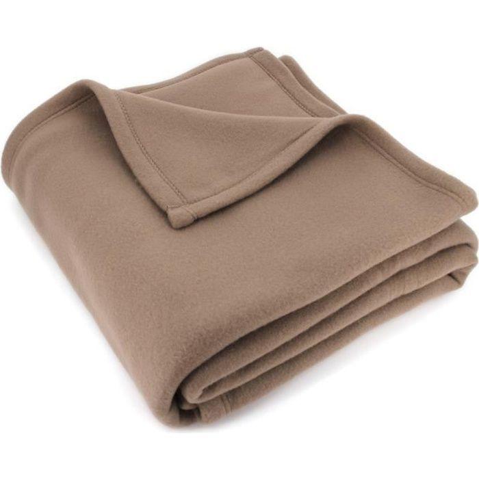 Chocolat 240x220 cm Les Douces Nuits De Mae Couverture Polaire Polyester