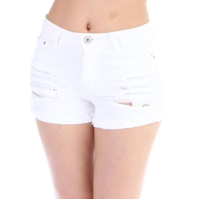 Short taille haute déchiré FEMME Blanc -
