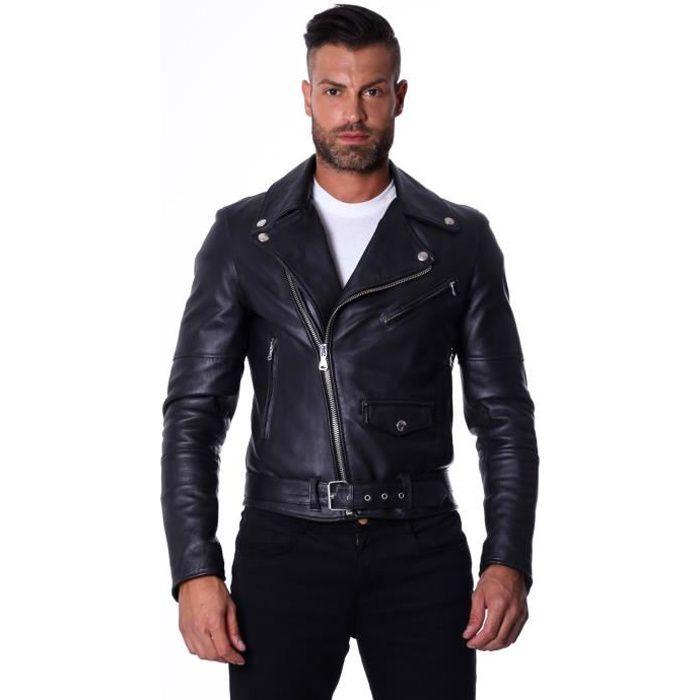 BLOUSON CHIODO BIKER  couleur noir  blouson cuir homme per