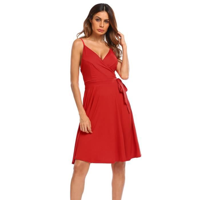 Robe plissée sexy pour femme Dos Nu Side Tie Bow Casual Party