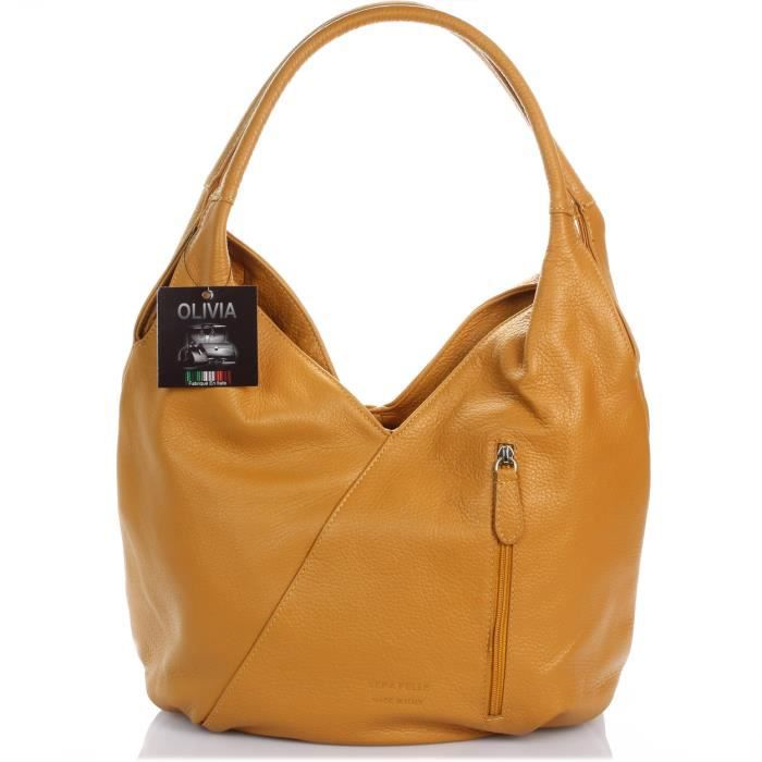 21713f14f3 HAPPY - Sac à main cuir marron CAMEL, cuir grainé N1932 - Femme ...