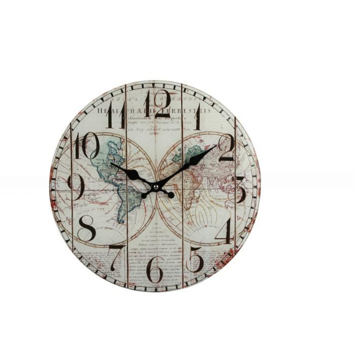 horloge murale r tro en verre carte monde 34 cm achat vente horloge verre cdiscount. Black Bedroom Furniture Sets. Home Design Ideas