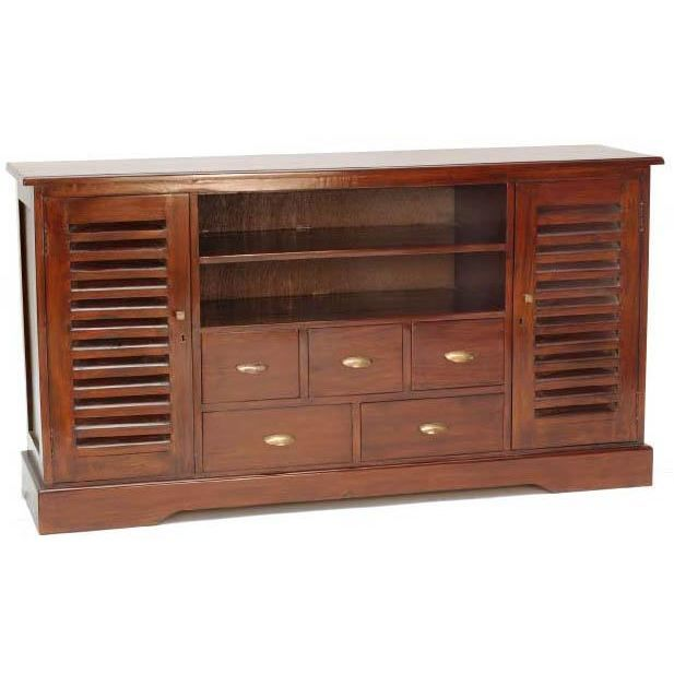 Meuble t l colonial 5t 2p hi fi buffet tv achat vente for Meuble colonial