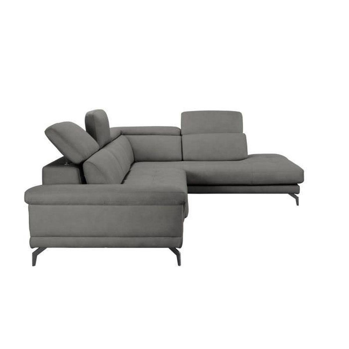 Bobochic Luna Panoramique Convertible canapé d'angle gris avec méridienne calista