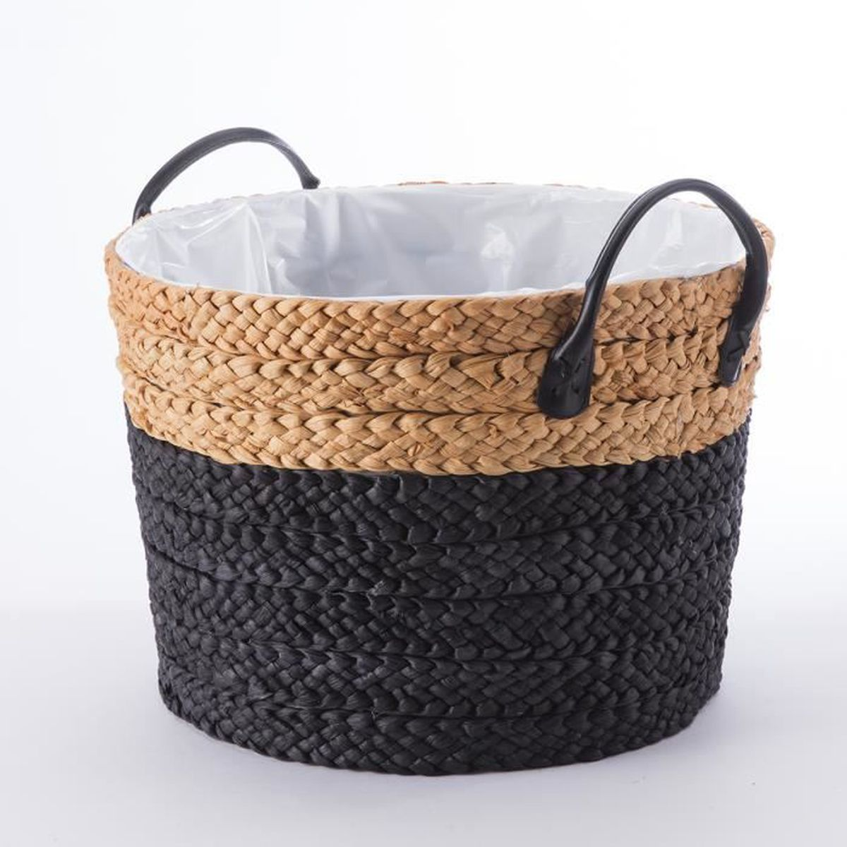 panier cache pot en paille tress e avec anses et int rieur plastifi bicolore d 36cm noir. Black Bedroom Furniture Sets. Home Design Ideas