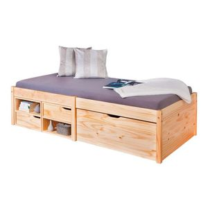 STRUCTURE DE LIT Forel - Lit Multi-Rangement 90x200 Naturel