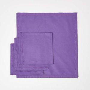 SERVIETTE DE TABLE Lot de 4 serviettes de table 100% coton  Violet