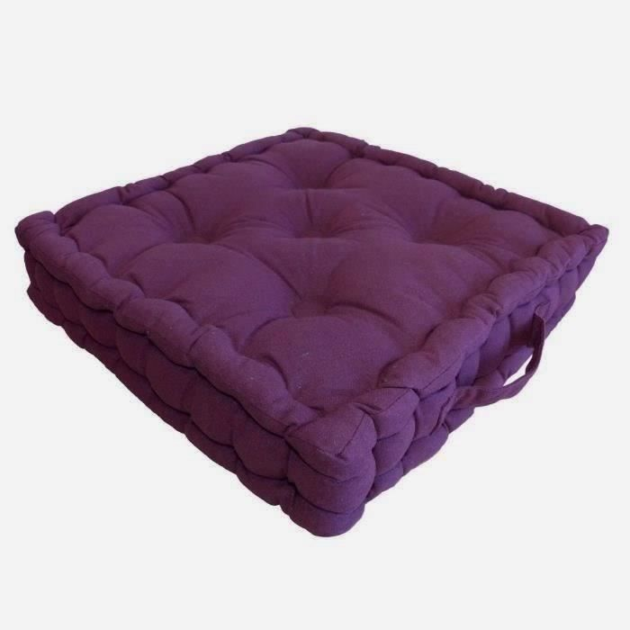 coussin de sol coton 40x40x9cm aubergine achat vente. Black Bedroom Furniture Sets. Home Design Ideas