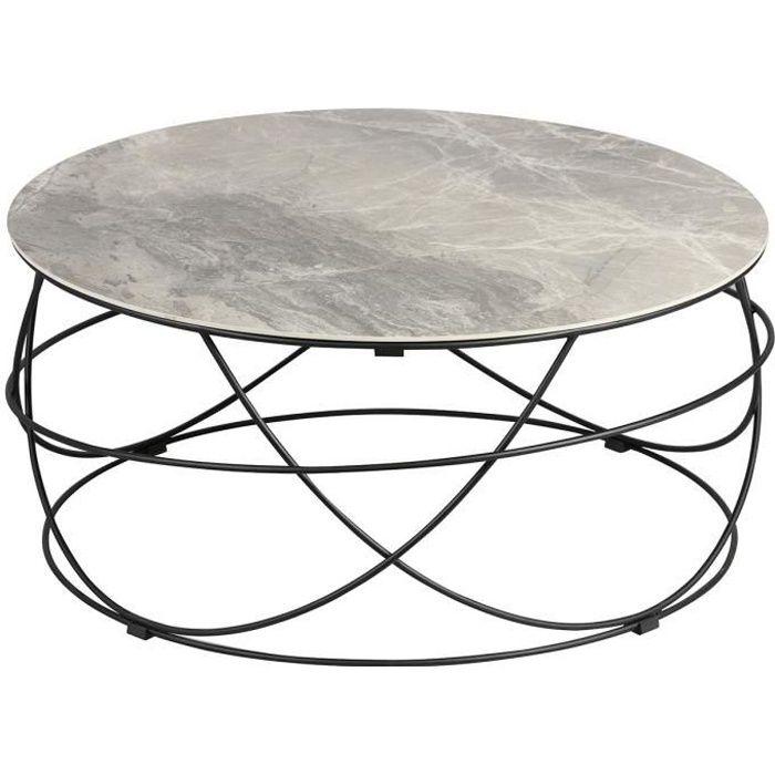 Cathleen - Table Basse Ronde Plateau Céramique