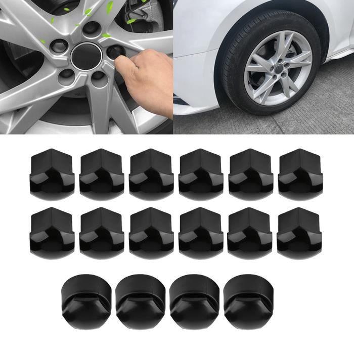 20pcs 17mm écrou roue voiture protection vis auto moyeu anti-vol couvercle Audi noir