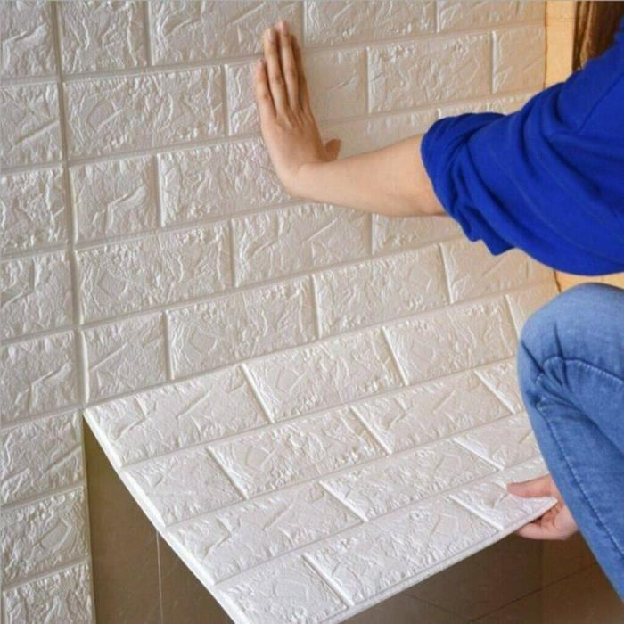 3D Sticker Mural Autocollant Brique En Relief Mural décoration 3D Papier Peint Brique Blanc - Taille de 30 x 60 cm