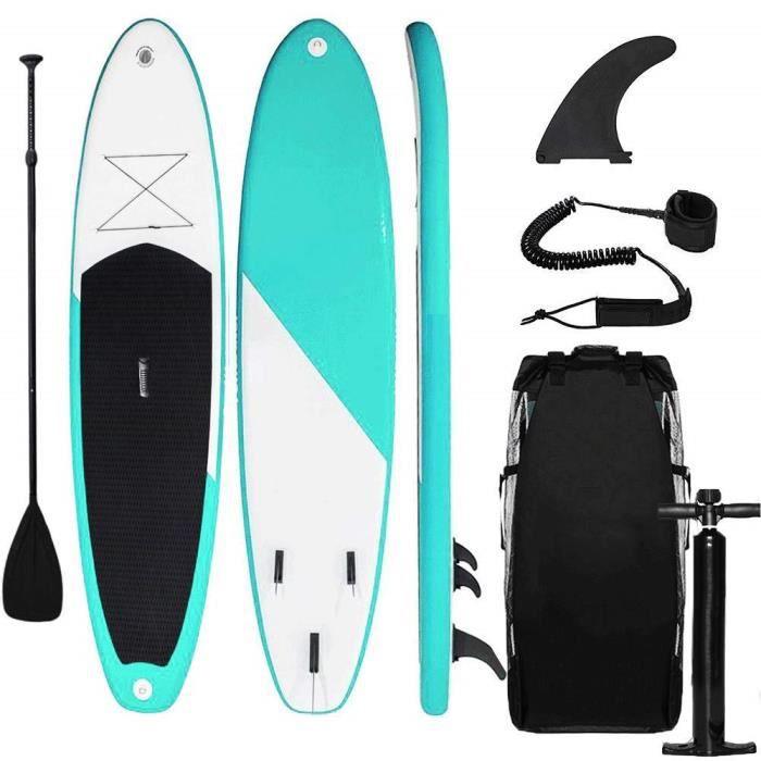 Sudoo Stand Up Paddle Gonflable 300x75x15cm (Ép), Pompe Haute Pression, Pagaie/Leash/Sac, Aileron Central Amovible, Kit de Répa