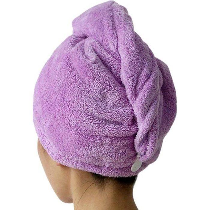 Séche Serviette Bain Microfibre Séchage Rapide Serviettes Soin Cheveux Serviette Wrap (Violet)
