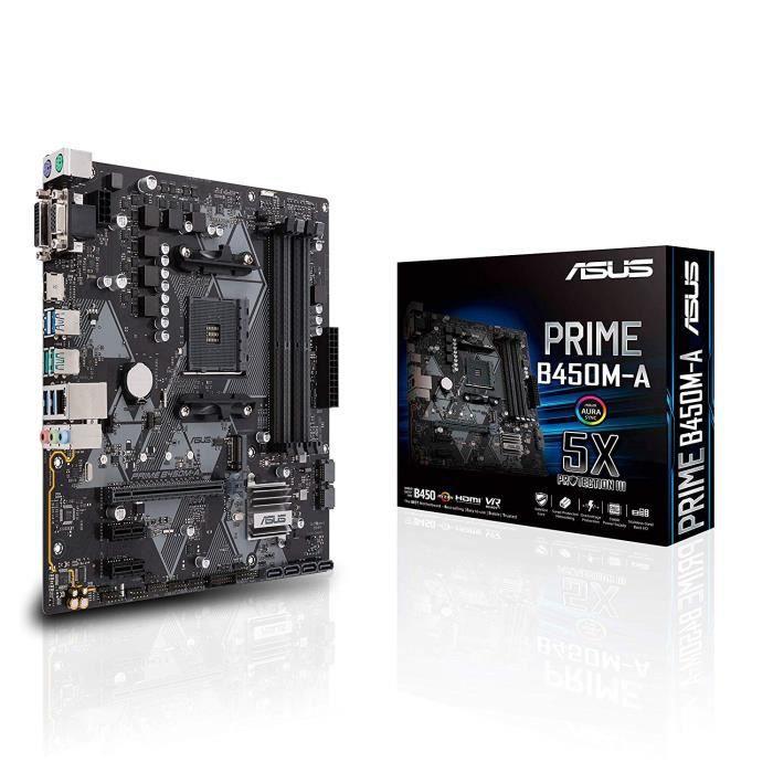 Asus Prime B450m A carte mère Gaming (Amd Ryzen B450 Socket Am4 Matx Ddr4, Aura Sync)