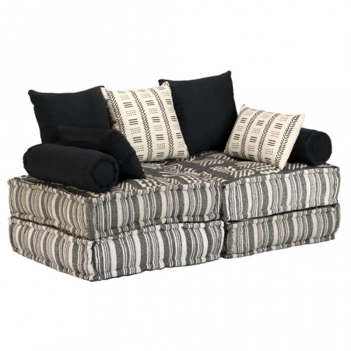Canapé 2 places modulable + coussins en tissu rayé gris/crème L.140CM CS2449861