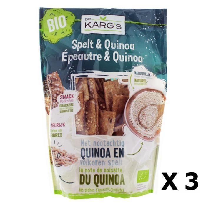 Lot 3x Mini crackers épeautre et quinoa BIO - Dr Karg's - Sachet 110g
