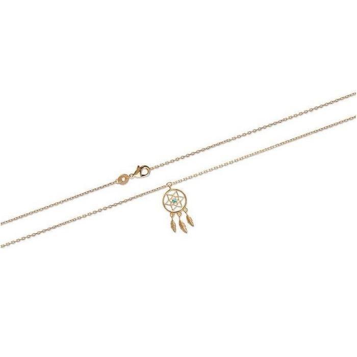 Bijoux Obrillant-Bijoux - Chaine de cheville en plaqué or attrape-rêve et turquoise de synthèse